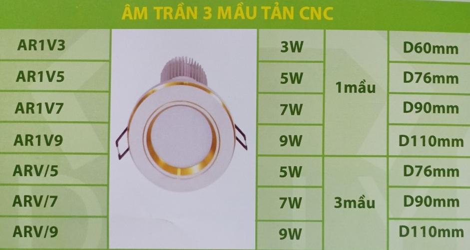 Đèn led Daily âm trần CNC 3 màu